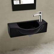 vidaXL Ceramic Bathroom Sink Basin with Faucet Hole Black