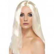 Smiffys Blonde dames pruik met stijl haar