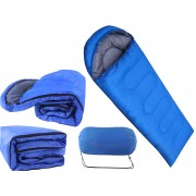 Sac pentru Dormit cu Perna Gluga pentru Camping si Drumetii, Albastru