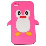 Силиконов калъф пингвин за Apple iPhone 4/4S Розов