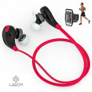 Lagom Red SPORTS Bluetooth Jogger Headset Wireless 4.0 Handfree Stereo Headphone Compatible with ALL other Smartphones