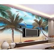 MIWEI Wallpaper Papel Pintado Pared Dormitorio Pintado A Mano De Fantasía Cocotero Playa Gaviota Fotomural 3D Mural Pared Moderno Wallpaper,350cmX256cm
