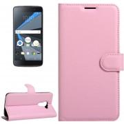 Para BlackBerry Dtek60 Litchi Texture Horizontal Flip Funda De Cuero Con Hebilla Magnetica Y Titular Y Ranuras Para Tarjetas Y Cartera (rosa)