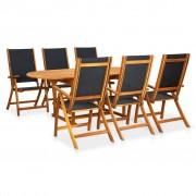 vidaXL Conjunto dobrável de jantar p/ jardim 7 pcs madeira acácia