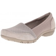Skechers Women's Career-Interview Wedge Pump, Dark Taupe Stretch Gore/Canvas/Suede, 5.5 M US