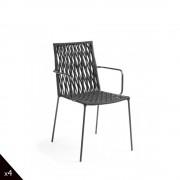 Bettie - 4 chaises corde indoor/outdoor - Couleur - Gris