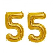 Stylewell Solid Golden Color 2 Digit Number (55) 3d Foil Balloon for Birthday Celebration Anniversary Parties