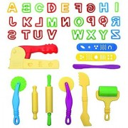 LoveS Set of 36pcs Smart Dough Tools Kit with Capital Letters and Extruder Machine Assorted Color