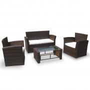 vidaXL Set mobilier din poliratan maro cu perne crem