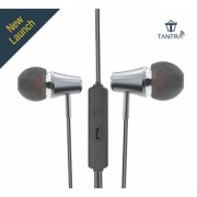 Tantra Trumpet T-600 Premium Wired Super Bass In-ear Earphones with Noise Reduction and Mic Metal Grey