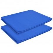 vidaXL Чаршафи за легло, 2 бр, памук, 146x260 см, кралско сини