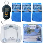 Pachet - Cantar electronic Portabil 40kg + Cantar corporal Electronic + Cantar corporal Mecanic + 3x Lavete din microfib
