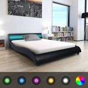 vidaXL Pat cu LED și saltea, piele artificială, 140 x 200 cm, negru