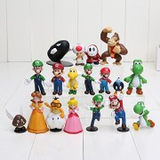 "18pcs/set Super Mario Bros 1""-2.5"" Yoshi Dinosaur Figure toy Super Mario Luigi Peach Koopa Toad PVC Action Figures"