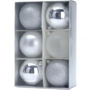Geen 12x Kerstboomversiering zilveren kerstballen 12 stuks