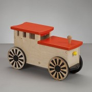 Kids Riding Toy, Wooden Ride on Train, Personalizable - South Bend Woodworks Express Natural/Orange Engine