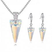 Set argint femei cu elemente Swarovski Cristale Aurore Boreale