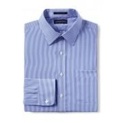 ランズエンド LANDS' END メンズ・ノーアイロン・スーピマ・ピンポイント/柄/ストレートカラー/アドバンスフィット/長袖/シャツ(クリアブルーホワイトストライプ)