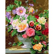 without frame, flower-142: Paint by Numbers, DIY Oil Painting Colourful Flowers Canvas Print Wall Art Home Decoration Without Frame by Rihe