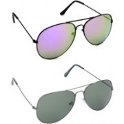 Hrinkar Aviator Sunglasses(Silver, Green)