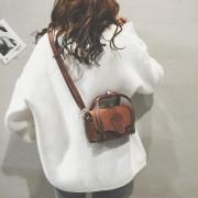 Grote Belt Buckle Fahion PU leer schouder tas dames handtas Messenger Bag (bruin)