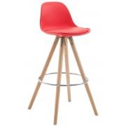 CLP Taburete Franklin en piel sintética con soporte redondo en color natural, rojo rojo, altura del asiento