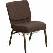 Flash Furniture Fabric Church Chair with Cup/Book Rack - Brown w/Gold Vein Frame, 21 1/4Inch W x 25Inch D x 33 1/4Inch H, Model FCH2214GV819B