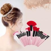 24 En 1 Mango De Madera Cepillo Del Maquillaje De La Fundación Cream Powder Blush Cosmeticos Maquillaje Tool Set (PINK)