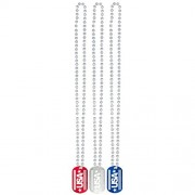 Amscan (Amsdd) Patriotic Dog Tag Necklaces pack of 24