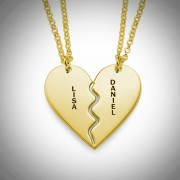 Personalized Men's Jewelry Personalized 18k Gold Plated Silver Breakable Heart Necklace 110-01-131-08