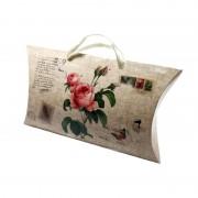 Cutii tip pernă cu mâner - model vintage cu trandafiri (set 12 buc)