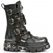 bőr csizma - Flame Boots (591-S2) Black-Grey - NEW ROCK - M.591-S2