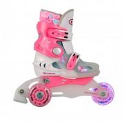 Детски ролери Worker TriGo Skate Pink със светещи колела
