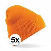 Beechfield 5x Basic winter muts oranje