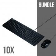 Bundle Teclado+Rato Asus U2000 c/fiosBlack USB PACK 10UN