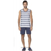 Pijama Masculino Adulto Lua Encantada Azul Navy Regata Listrada