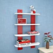 Onlineshoppee Floating MDF 4 Shelf Ladder Shape Wall Shelves - White Red