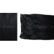 Clip in vlasy odstín 1 Sada: Základní - délka 50 cm, hmotnost 100 g