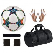 Combo of Multistar UEFA Champions League Football (Size-5) Kit Bag & Supporters