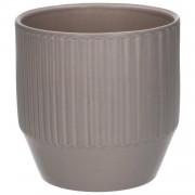 Dille&Kamille Pot de fleur, céramique, gris mat côtelé, Ø 13 cm