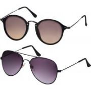 Freny Exim Aviator, Round Sunglasses(Brown, Violet)