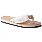 Tommy Hilfiger Japonki TOMMY HILFIGER - Leather Footbed Beach Sandal FW0FW00475 Whisper White 121