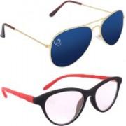 Aventus Aviator, Cat-eye Sunglasses(Blue, Clear)