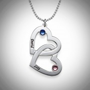 Personalized Men's Jewelry Silver Couples Heart with Birthstones Necklace 110-01-094-02