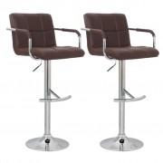 vidaXL Бар столове с подлакътници и висока облегалка, кафява кожа – 2 броя
