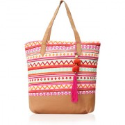 INDOFAS Women's Cotton Jacquard With PU Leather Tote Bag (IDFSOP005 Multicolor)
