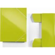 Mapa LEITZ Wow carton cu elastic - verde metalizat