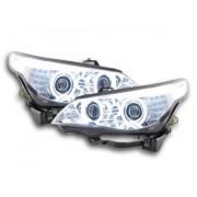 FK-Automotive fari Angel Eyes CCFL allo xeno BMW serie 5 E60/E61 anno di costruzione 03-04 cromato per volante a destra