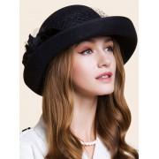 rosegal Double Floral Embellished Flanging Bowler Hat