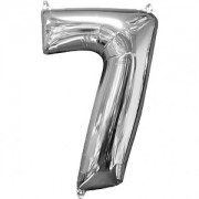 Balon folie cifra 7 argintiu 43 x 66cm